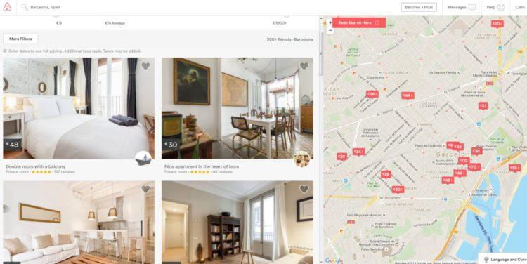 Oferta de apartamente in Barcelona: in stanga avem preturi si poze, in dreapta - harta - pentru a stii locatia fiecaruia